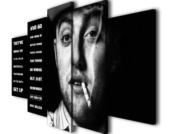 5 Panels Mac Miller Quotes Life Goes On Printed Canvas Material Wall Art Picture Home Dcor Contemporary Artwork Split Birthday Gift