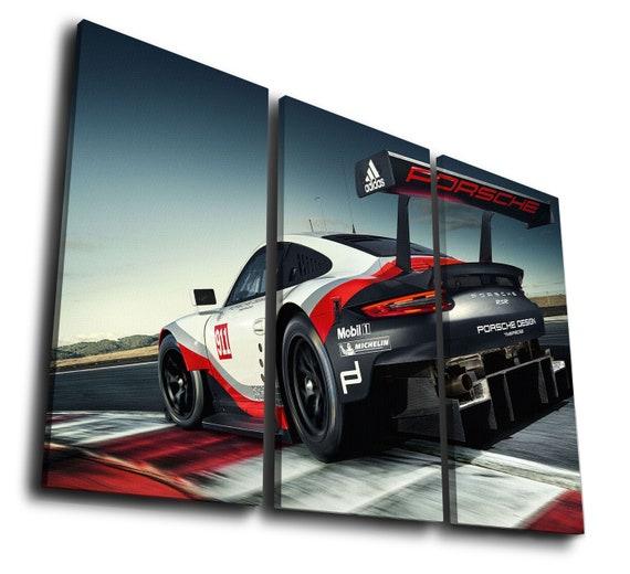 Porsche 911 Gt3 Sport Car Art Painting Print Canvas Wall Art Etsy