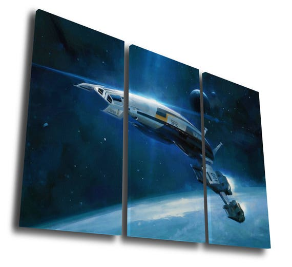 Mass Effect Spaceship Poster Painting Printed Canvas Wall Art | Etsy