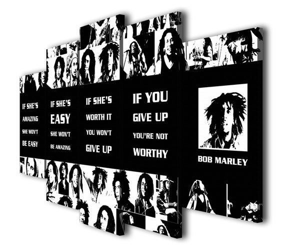 5 Panels Bob Marley Quotes If Shes Amazing Painting Etsy