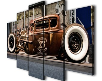 Old Vintage Car Boys Painting Printed on Canvas Wall Art Picture Home Décor Contemporary Artwork Split Canvas Birthday Gifts