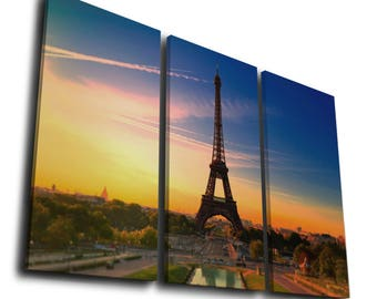 Eiffel tower landscape Painting Printed on Canvas Wall Art Picture for Home Décor, Contemporary Artwork, Split Canvase, Birthday Gift