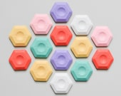 Hexagonal Eraser Koh-i-noor thermoplastic candy colors pastel colors, honeycomb eraser