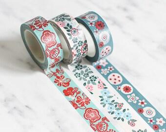 Floral washi tape, Mint green washi tape, Tape Set, Flower washi tape, Greenery masking tape, Pink masking tape, Blush masking tape