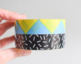 Memphis Pattern Parcel Tape, Mailing Tape, 90s Packaging Tape, Black Packaging Tape, Memphis Packing Tape, Packaging Tape, 90s Tape Yellow