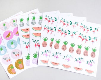 120 pineapple stickers, bujo stickers, planner stickers, journal stickers, watermelon round stickers, sticker seals, pink sticker, gift wrap
