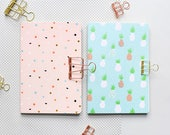 2 tropical note books, pinapple note book, pink excercise book, fruit notebook, HIG notebook, marbled, green, DIN A5