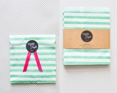 20 Striped Paper Bags, Candy Striper Favor Bags, Wedding Favor Bags Candy Bags Flat Party Bags Dotted