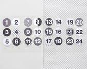 Holiday Calendar Stickers, Advent calendar 2018, advent calendar kit, Christmas calendar numbers, DIY holiday calendar, Christmas DIY