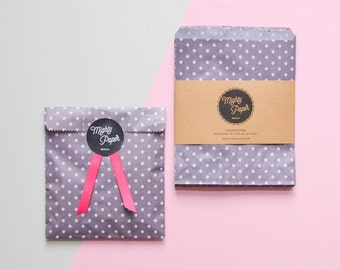 20 Polka Dots Paper Bags Favor Bags Wedding Favor Bags Candy Bags Flat Party Bags Dotted