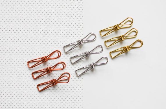9 bag Wire Clips, copper clips, gold Clips, Metal Clips, strong ...