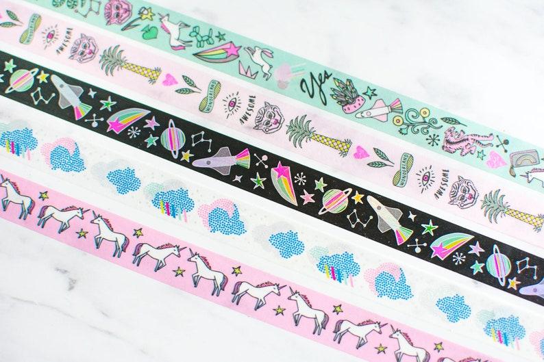Pink Pony Holo Washi Tape Set of 5 Tapes image 0