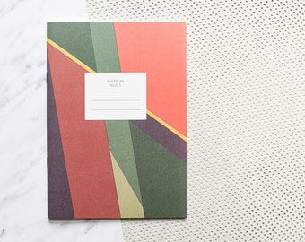 Green notebook, notebook paper, excercise book, notebook A5, jotter notebook, blank journal, blank notebook, blank book,notebook journal