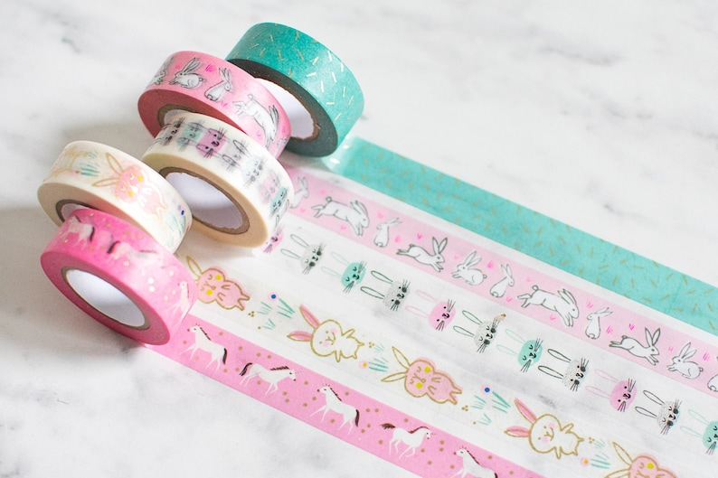 Pink Bunny Washi Tape Set of 5 Tapes image 0