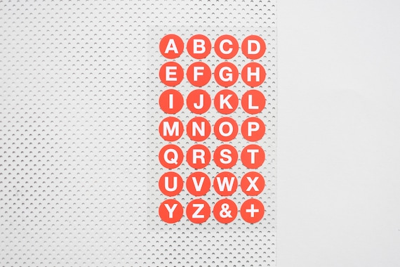 Round letter stickers abc stickers alphabet red stickers