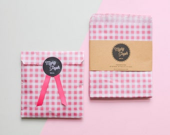 20 Gingham Paper Bags Favor Bags Wedding Favor Bags Candy Bags Flat Party Bags Dotted
