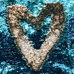 """NEW COLOR Silver/Turquoise Brittany Design 5mm Flip Up Sequin on Spandex, 54"""" inch, sold by the yard"""