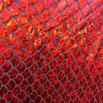 """Lucious black/red 3/4"""" inch Mermaid Scales on Nylon Spandex, 60"""" inch, sold by the yard"""