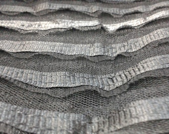 Ruffle Mesh Fabric Stretch Metallic in Black/Silver or Black/Gold sold by yard