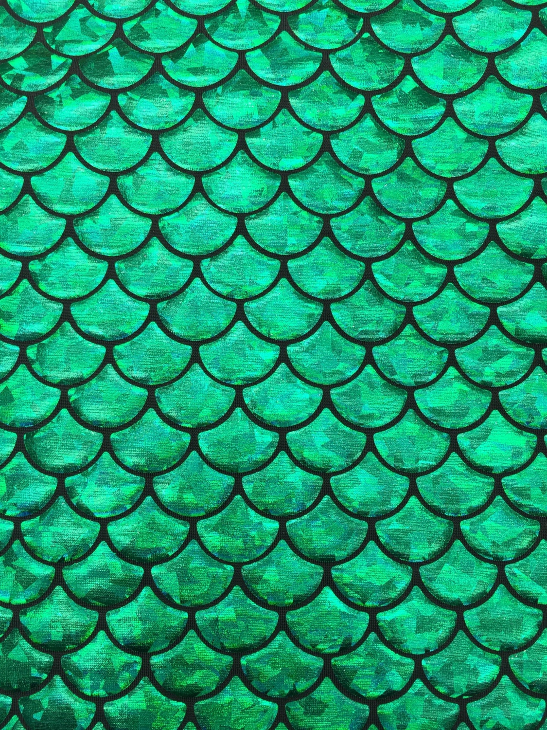 Mermaid Fish Scales Green On Black Spandex 4 Way Stretch
