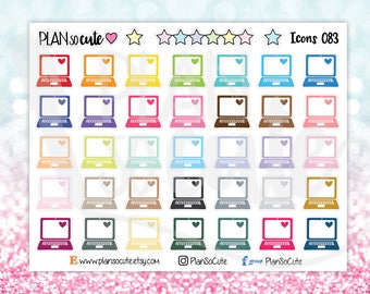 Rainbow Doodle Laptop Stickers, Planner Stickers -083