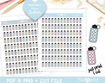 Doodle Water Bottle, Hydrate, Printable Planner Stickers, Doodle Stickers, Cricut and Silhouette files