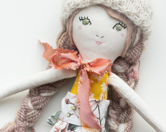 "Handmade Cloth Doll 16"" ish tall, cuddly heirloom doll or kids decor - read descriptions!"