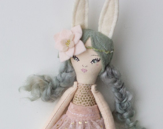 "Petite Bunny Girl Doll 9.5"" ish tall - Green hair, kids decor, gift or art doll - studio decluttering sale, read descriptions!"