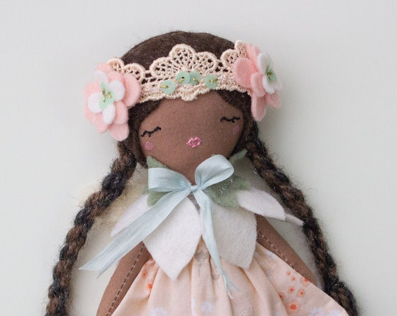 "Mini Fairy Princess Doll  7"" ish tall - Soft colors, kids decor, gift or art doll - studio decluttering sale, read descriptions!"