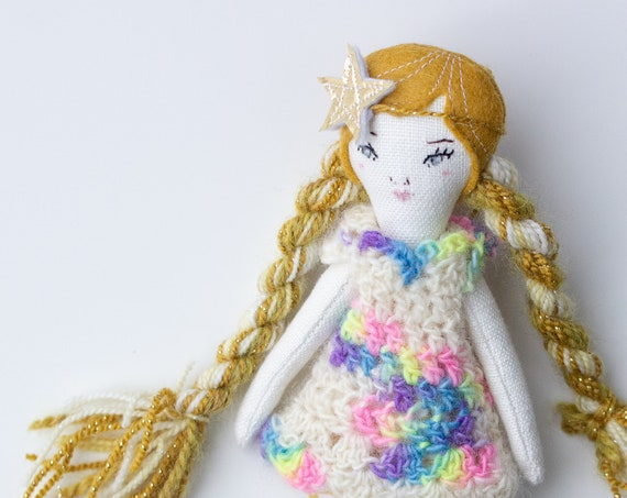 "Petite Girl Doll 8"" ish tall - Dark Gold hair, kids decor, gift or art doll - studio decluttering sale, read descriptions!"