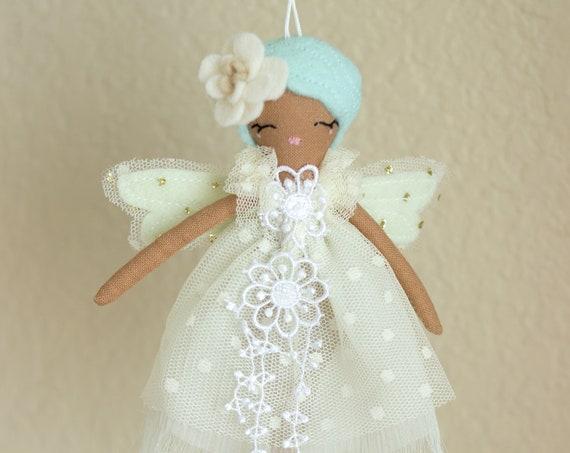"""Tiny Wisp Fairy Doll, Decorative Mini Wall Hanging Art Doll Ornament , 6.5"""" ish tall."""