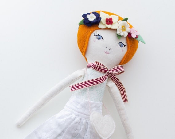 "Handmade Cloth Heirloom Doll 15.5"" ish tall Redhead - studio decluttering sale, read descriptions!"