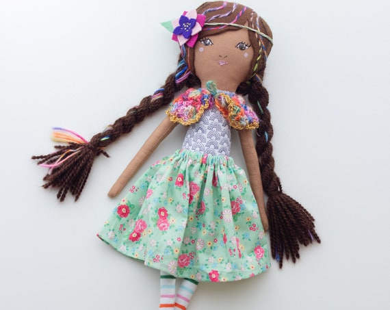 "Handmade Cloth Heirloom Doll 16"" ish tall Rainbowy Brunette- studio decluttering sale, read descriptions!"