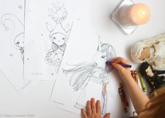Printable Coloring Pages, Unicorn and Sprite Dolly Theme Set of 3, PDF File and JPG. ***Digital download***