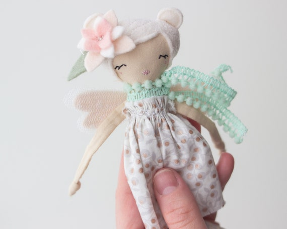 "Tiny Fairy Doll bear 6.5"" ish tall creamy studio sample sale, read descriptions!"