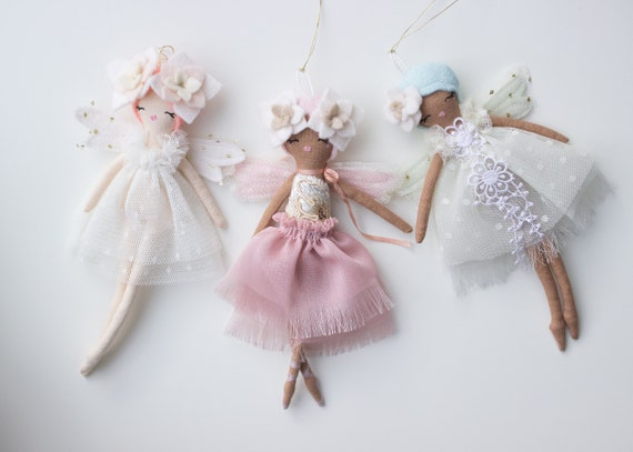 "Tiny Wisp Fairy Doll Decor, Mini Wall Hanging Art Doll, 6.5"" ish tall. - Studio declutting sale, read descriptions"