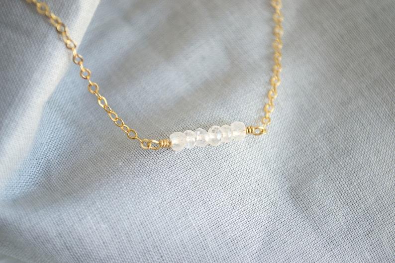 Rainbow Moonstone Necklace  Gemstone Bar Necklace  Bar Necklace  Minimal Necklace  Everyday Necklace  Dainty Gold Necklace SSJ324