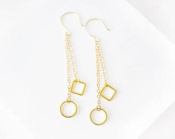Gold Dangle Earrings, Drop Earrings, Fringe Earrings, Dainty Earrings, Dainty Gold Earrings, Simple Earrings, Minimal Jewelry, Long Earrings
