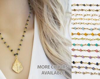 Buddha Necklace, Gold Buddha Necklace, Yoga Jewelry, Gemstone necklace, Gemstone jewelry, Boho necklace, Boho Jewelry, Charm Necklace