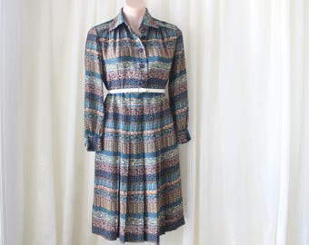 Tribal Ocean Japanese Vintage Shirt Dress, Long sleeve Midi dress, Small 4293