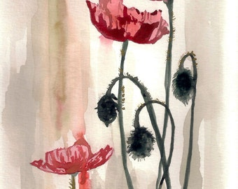 Poppies Watercolor Painting PRINT