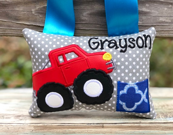 Bunnies and Bows Construction Truck Tooth Fairy Pillow with Tooth Fairy Dust