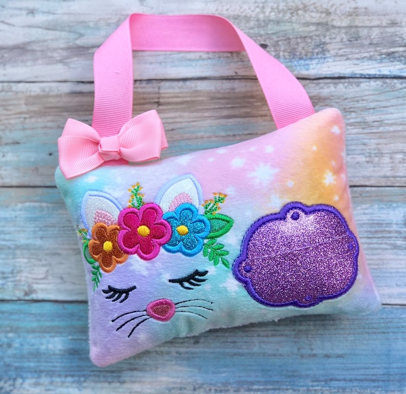 Embroidered kitty pillow Kitty tooth fairy pillow