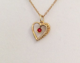 2c4f2d7a99bff5 Vintage Birthstone heart necklace, gold heart pendant necklace, ladies pendant  necklace, Valentines Day necklace