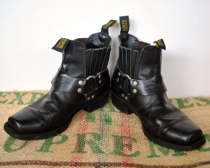 06ffa308a3f6d Black Harness Motorcycle Boots – Vintage Made in Australia by Windsor Smith  – Biker Johnny Reb Ankle Boots – Size: US M 8.5 US L 10 EU 42