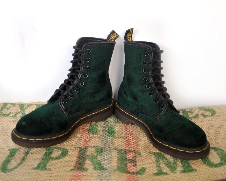 7392b0e1f9a26 Rare Green Velvet Dr Doc Martens Boots Rare 80s Vintage Made | Etsy