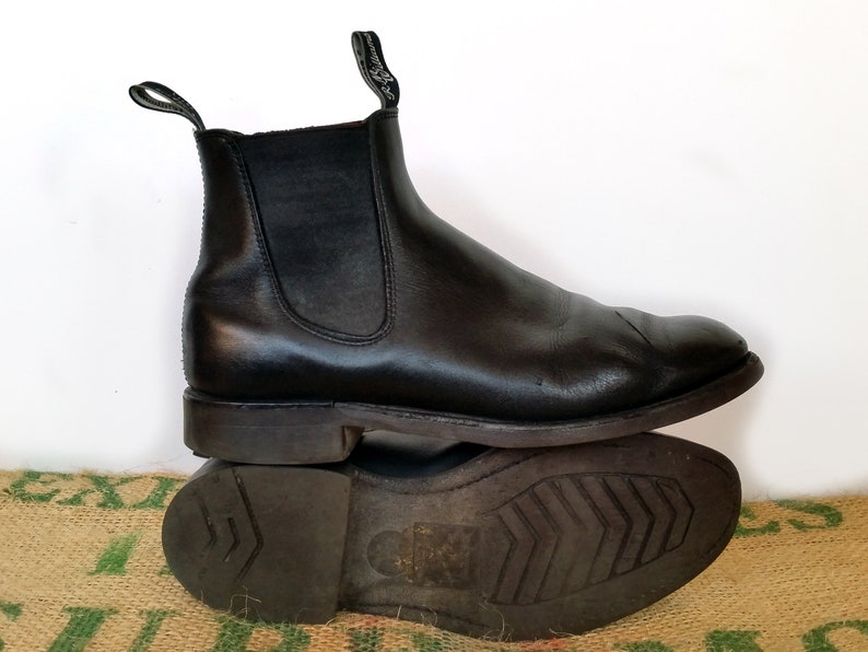 7360e590b8c22 Black RM Williams Boots - Vintage Made in Australia – Craftsman Leather  Chelsea Ankle - Leather sole Sz Au 9.5 G usM 10.5 usL 12 EU 44