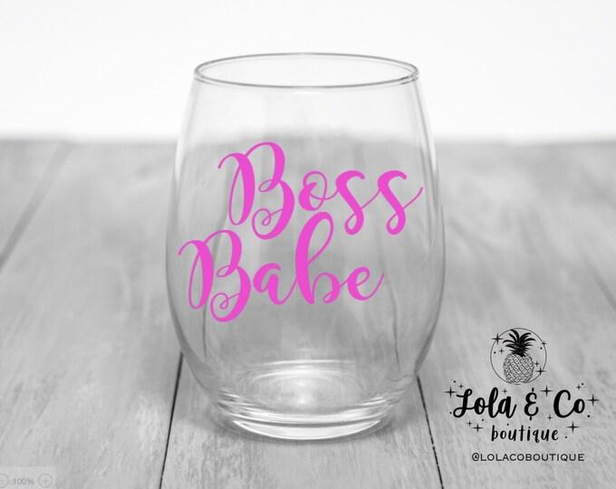 Boss Babe Wine Glass | Boss Lady | Boss Babe | HBIC | Bachelorette Gift | Hostess Gift | Party | Hot Pink