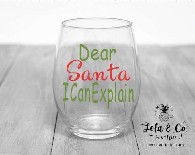 Dear Santa I Can Explain | Christmas | Holiday | Hostess Gift | Holiday Gift | Red | Green | Holiday | Elves | Christmas Tree