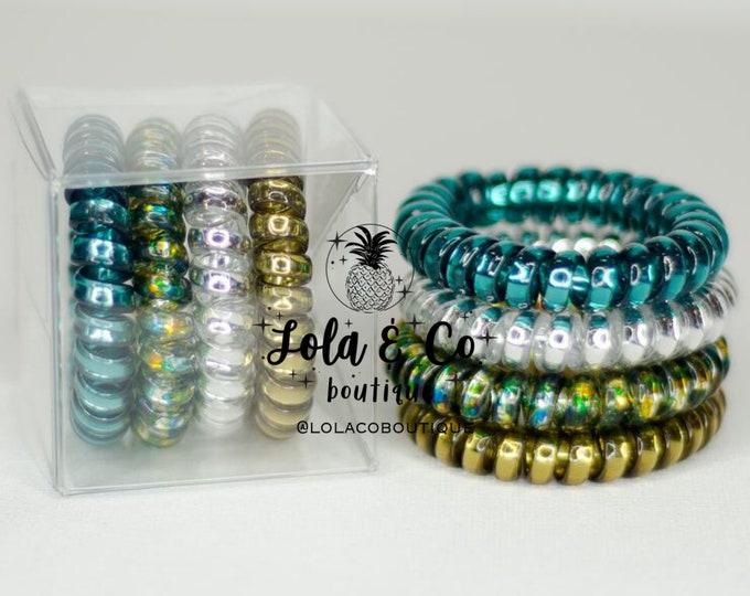 Olive & Turquoise Graffiti Hair Ties | Set of 4 | Gift Set | Tele Cord | Telephone Cord | Hair | Aqua | White | Gold | Graffiti